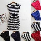 New style summer dress Casual Stripe women summer dress tank sleeveless dresses