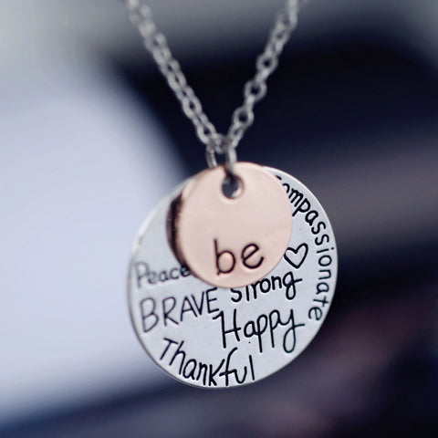 rose gold plated Pendant Necklace hand stamped Be Happy Necklace