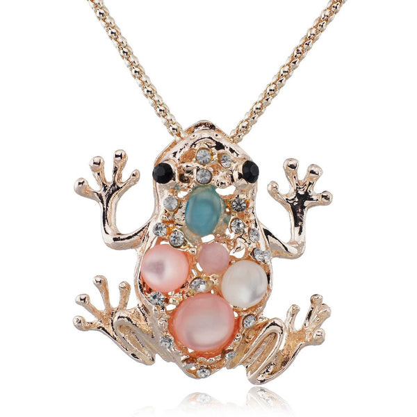 Auspicious Lucky Frog Toad Crystal Chain Long Chain Animal  Pendant Necklace