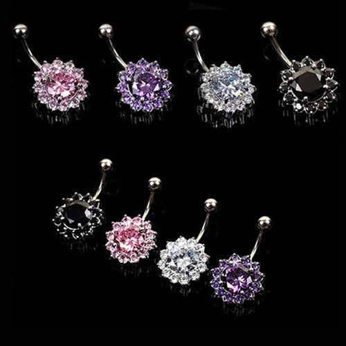 Cubic Zirconia Flower Crystal Rhinestone Navel Barbell Belly Ring Body Piercing