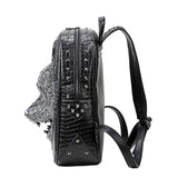Wolf head shoulders bag women bag embossed fashion cool school backpack