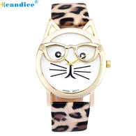 Cute Glasses Cat Women Quarts Watch