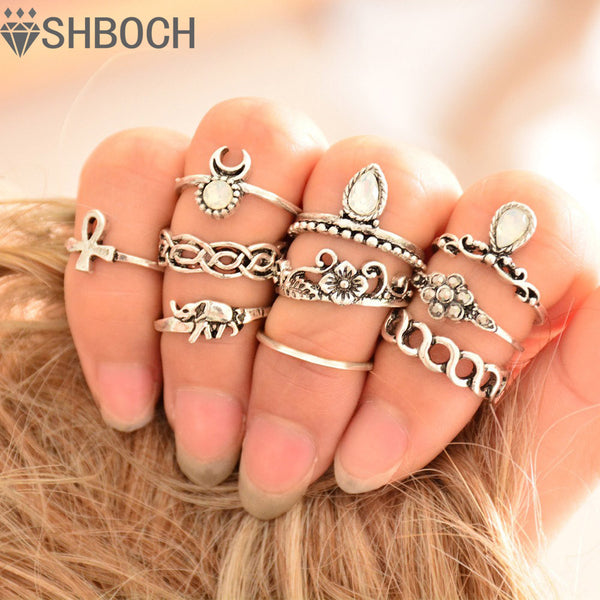 10pcs/Set Vintage Ring Set Unique Carved Antique Silver  Crystal  Knuckle Rings