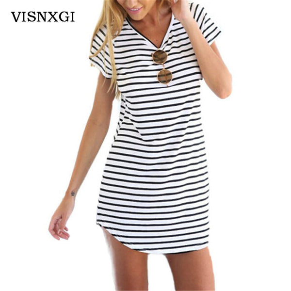 Black White Striped  Mini Dress for Summer