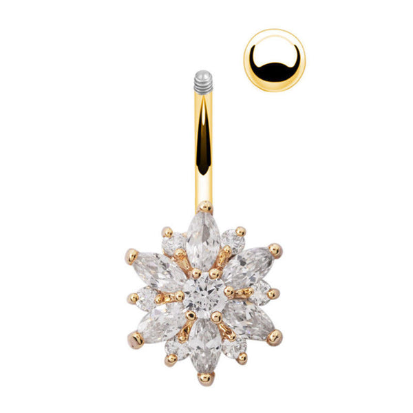 Flower Cubic Zirconia Belly Button Ring Navel Bar Barbell Body Piercing
