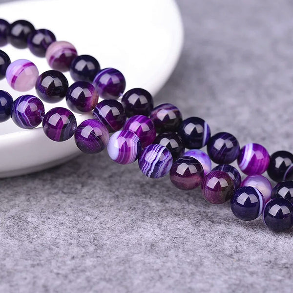 Natural Purple Banded Agate Natural Stone Round Beads For Jewelry Making DIY Bracelet Necklace 4 6 8 10 12 mm 15.5''