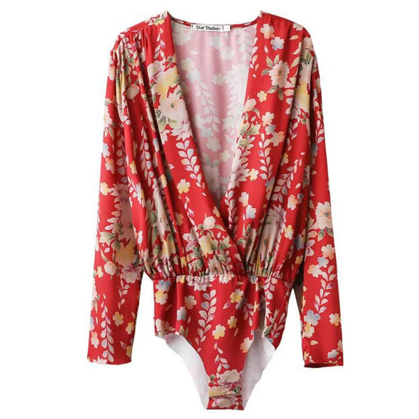 Sexy Red Floral Pattern Body Siamese Blouse Deep V-Neck Long Sleeve top