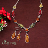Vintage Retro 18k Gold Plated Amber African Jewelry Sets Necklace + Earrings Wedding sets