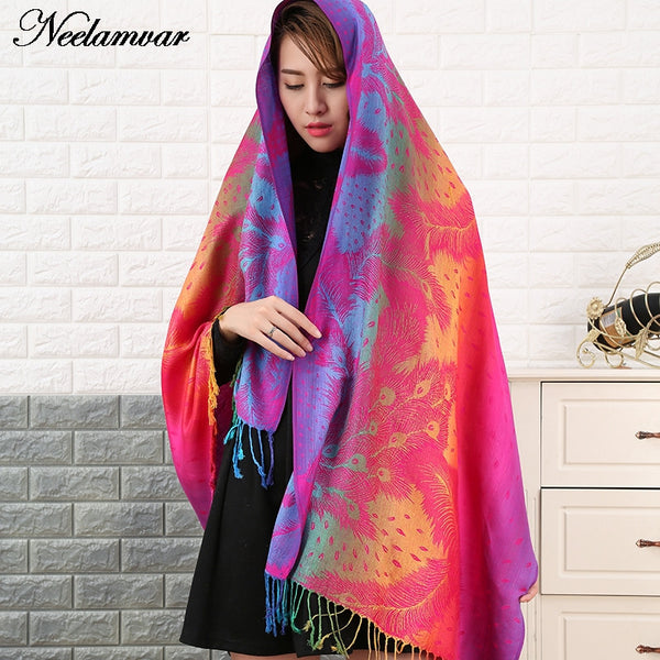 Double Sided cotton Jacquard Scarf Wraps pashmina