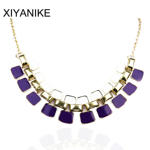 Fashion Necklaces Pendants Link Chain Collar Long Plated Enamel Statement Bling Necklace Women Jewelry Max Necklace XY-N104