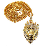 Gold Plated Lion Head Crown King pendants necklaces
