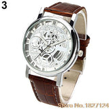 Roman Numerals Faux Leather Band Skeleton Analog  Wrist Watch