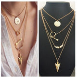 Ethnic Coins Necklace Women Leaves Triangle Bar Round Chokers Statement Necklace multilayer Vintage Jewelry