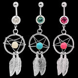 Body Jewelry Crystal Gem Dream Catcher Navel Dangle Belly Barbell Button Bar