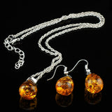 Amber Tear Drop Baltic 18k Platinum Plated Pendant Necklace Earring set