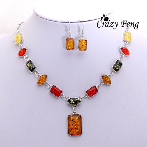 Vintage Retro 18k Silver Plated Amber African Wedding Jewelry Sets Chain Necklace Earrings sets