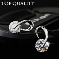 Austria Crystal Wedding  Silver Crystal Stud Earrings