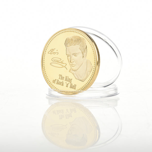 1pcs Copy Coins Euro 2017 Elvis Presley US Gold Coin Collectible Canada Penny Russia Souvenirs Original Replica Coins BTC012