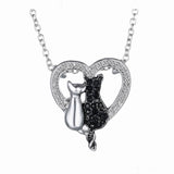 New Lovely Cat Paw Black White 2 cat On Heart Crystal Pendant Necklace For Women Girl Best Friend Gift Small Cat Jewelry