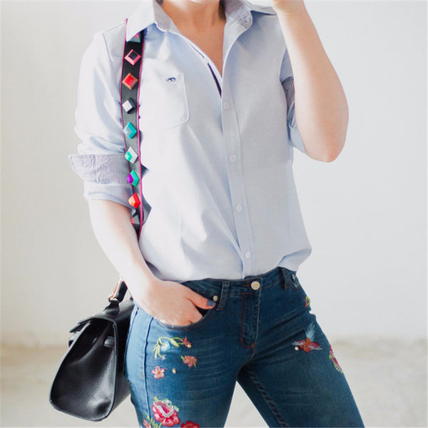 Women Tops Blouse  Long-Sleeve Casual Gradient Color Body Denim