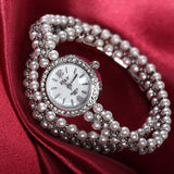 Luxurious Multilayer Pearl Chain With CZ Diamond Women's Quartz Watch