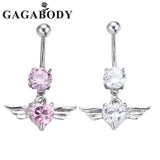 Silver Gold Navel Belly Button Ring Rhinestone Bar Heart Angel Belly Piercing Body