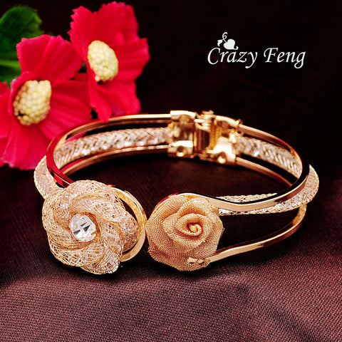 Free shipping Fashion Women's/Girl's  Yellow Gold Plated Austrian Crystal Rose Wrist Cuff Bangles & Bracelets Jewelry Gifts
