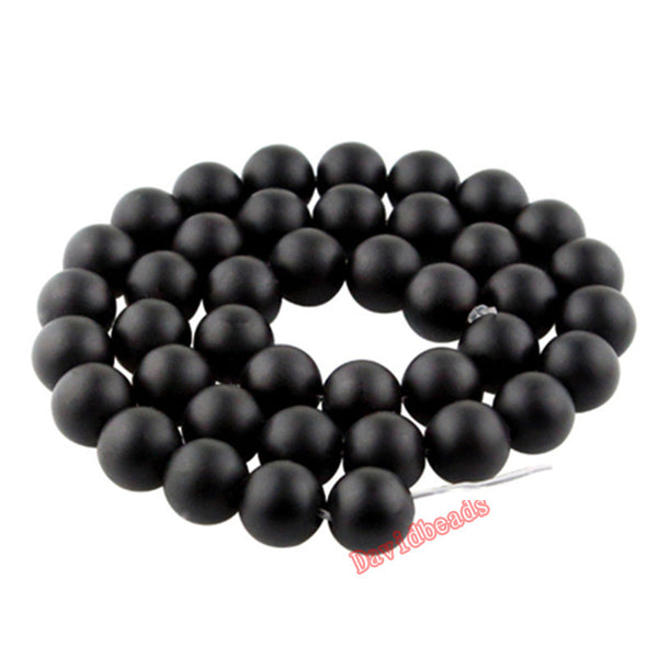 "5A Quality Black Frost Dull Polish Matte Onyx Agat Round natural Stone Beads 16"" Strand 4 6 8 10 12 14MM For Jewelry Making"