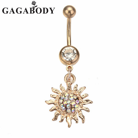 Navel Rings  Surgical Steel Gold-plated Sun Dangle Navel Belly Ring Bar Barbell Body Piercing