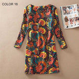 Plus Size Women Clothing Spring Fashion Flower Print Women Dress Ladies Long Sleeve Casual  Dresses