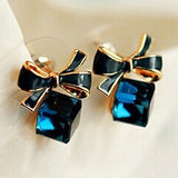 Blue Kiss  Chic Shimmer Plated Gold Bow Cubic Crystal Earrings Rhinestone Stud Earrings For Women