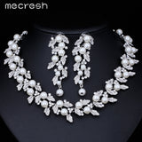 Silver  Simulated Pearl Bridal Jewelry Sets