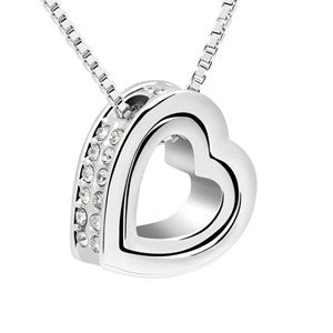 Gold Plated Austrian Crystal Luxury Brand Heart Necklaces & Pendants