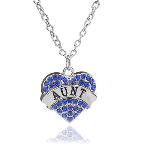 Mother's Day Best Gift Mom Daughter Sister Grandma Nana Aunt Family Necklace Crystal Heart Pendant Rhinestone Women Jewelry