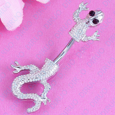 Jeweled Lizard Style Belly Button Ring  Body Piercing Jewelry Navel Piercing 316L Stainless steel free shipping