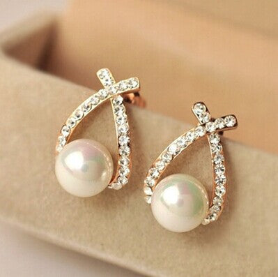 Gold Crystal Stud  Pearl Earrings