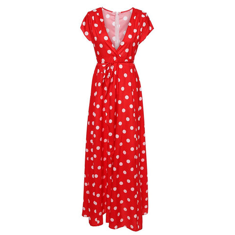 Polka Dot Boho Maxi Skirt Women Red/Blue  Long Skirt Summer Beach Party Dress