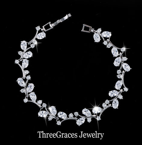 Romantic CZ Simulated Diamond Jewelry Leaf And Flower Cubic Zirconia Bridal Wedding Bracelets Gift For Bridesmaid BR031