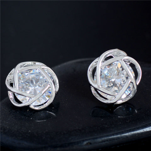 Hearts & Flower Perfect Cut Cubic Zirconia Crystal Stud Earrings