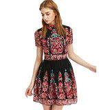 Embroidery Party Dress Women Black Vintage Mesh Overlay Boho Skater Summer Dresses