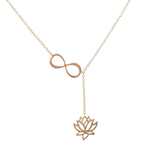 "Infinity Lotus Lariat Pendant Necklace for Women 18"" Link Chain Plant Lotus Flower Jewelry Necklaces"