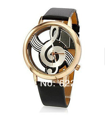 Unique watches Woman Quartz Analog Hollow Musical Note Style leather WristWatch fashion Casual watch female Relogio Feminino