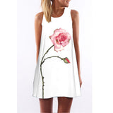 New Style Summer Dress Sleeveless Floral Print Above Knee Plus Size Women Clothing Dresses