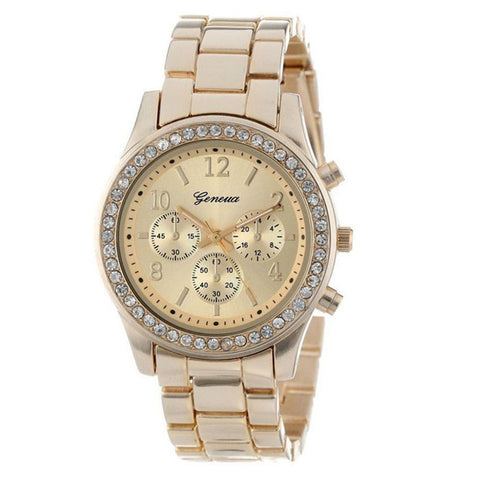 Faux Chronograph Quartz Plated Classic Round Ladies Women Crystals Watch