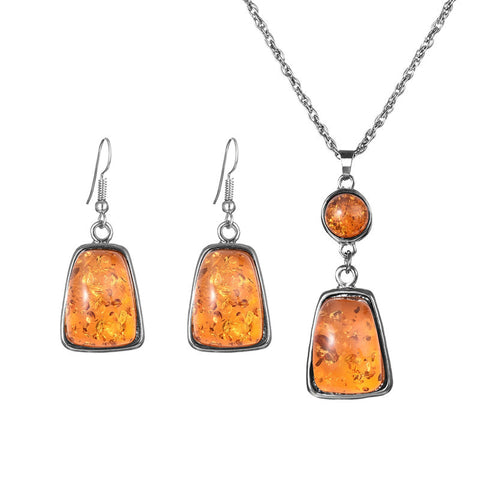Vintage Retro Platinum Plated Amber African Jewelry Sets Necklace Earrings