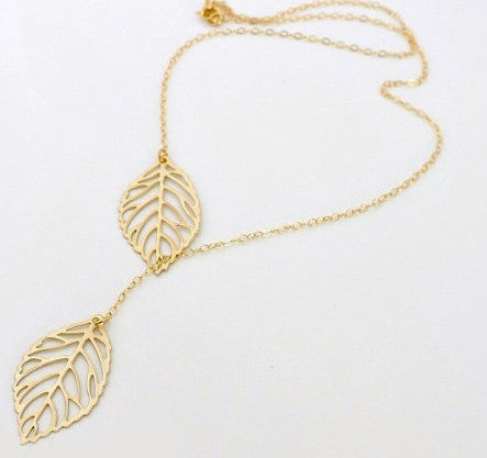 Gold And Sliver Two Leaf Pendants Statement Necklace Chain