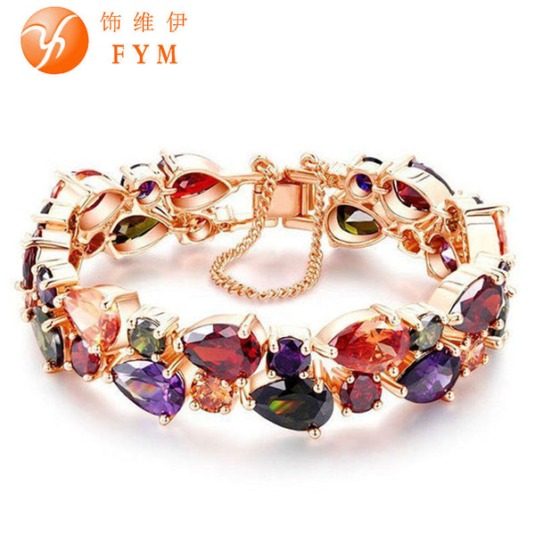 Charm CZ Diamond Bracelet Rose Gold Plated Mona Lisa Bangle