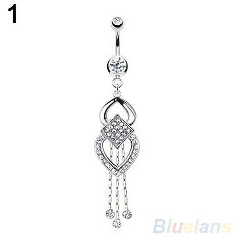 Rhinestone Tassels Dangle Barbell Body Piercing Belly Navel Bar Ring