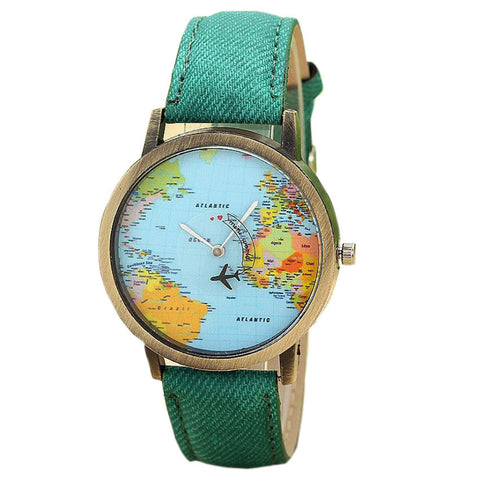 World Travel  Denim Fabric Band Women Watch