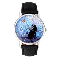 Cat Pattern Leather Band Analog Quartz Wrist Watch